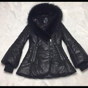 Mackage peaches all black puffer coat.